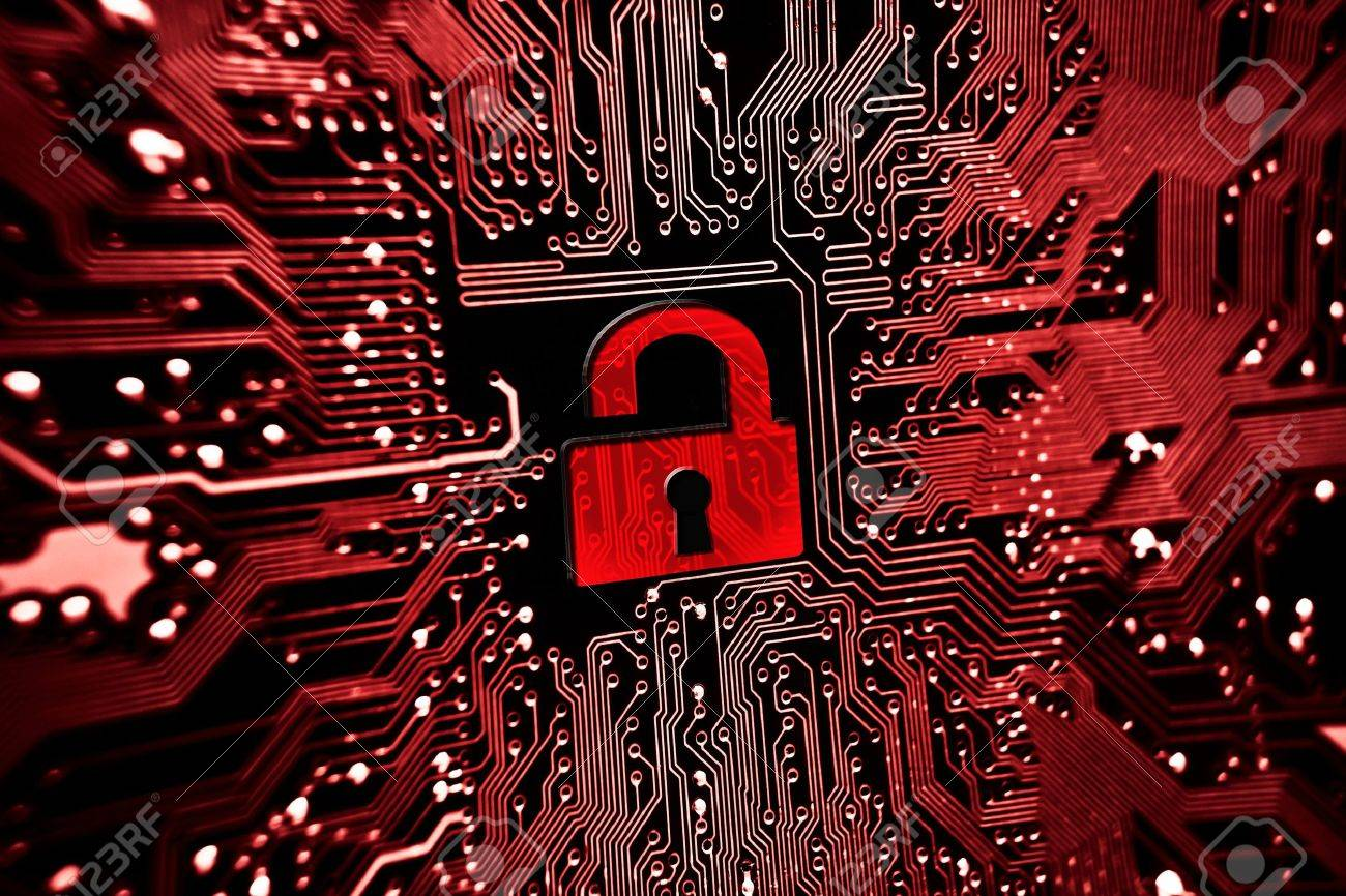 hacked symbol on computer circuit board with open red padlock stockhacked symbol on computer circuit board with open red padlock stock photo 30070984