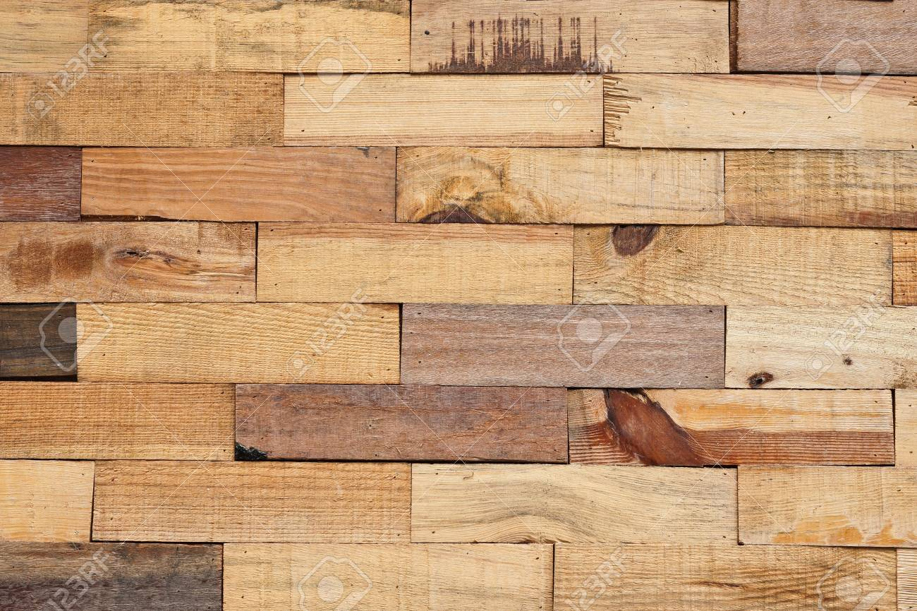 Wood Plank Wall Arranged As A Brick Wall Pattern For Design And ...