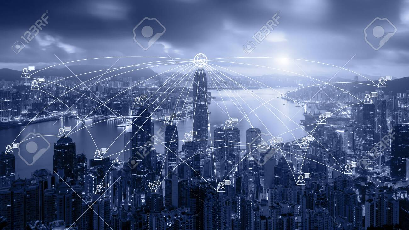 Network business connection system on Hong Kong smart city scape in background. Network business connection concept - 126106274