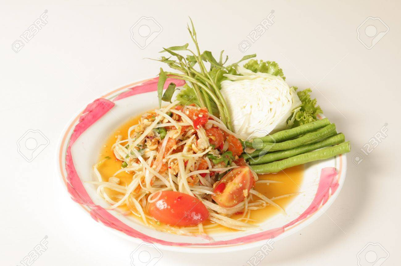 Thai papaya salad on a white background Stock Photo - 15444856