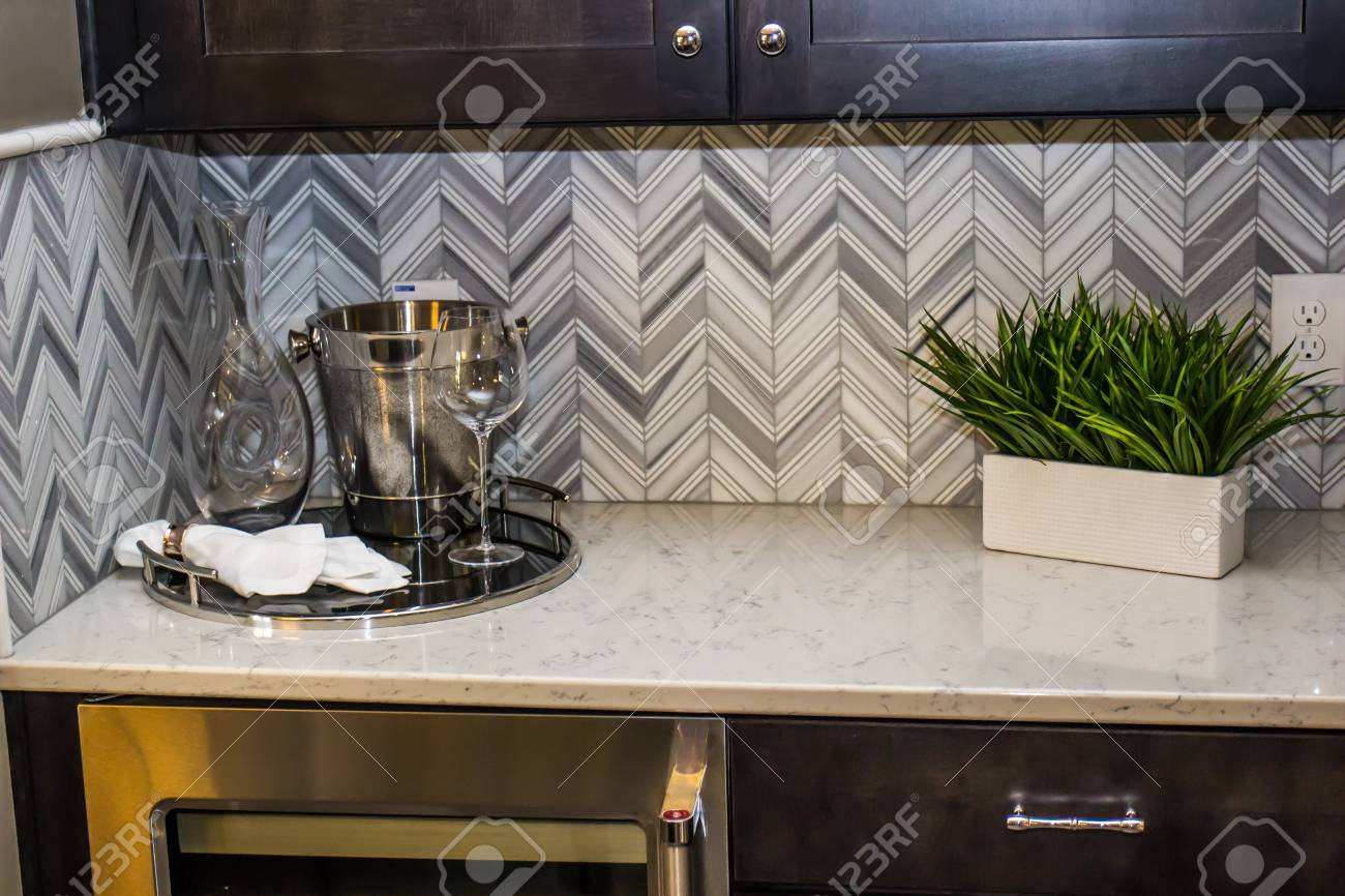 Ice Bucket Glasses Plant On Modern Kitchen Counter Stock Photo Picture And Royalty Free Image Image 96586061