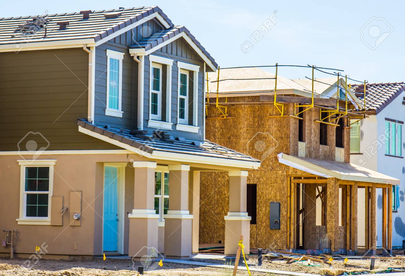 Row Of Two Story Homes Under Construction Stock Photo, Picture And ...