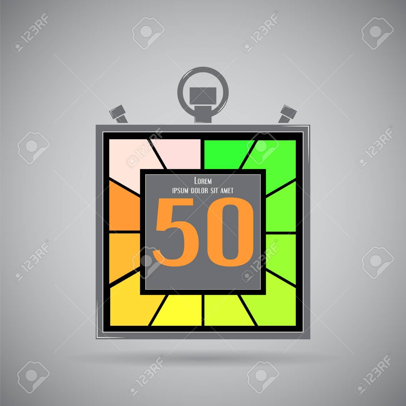 Icono electrónico cronómetro. Temporizador Square. Cincuenta segundos.  Reloj de cocina. Estilo Diseño plano. Hecho en la ilustración vectorial