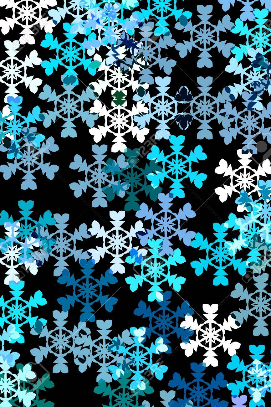 snowflakes in different blue colours and white on black background stock photo 3440587
