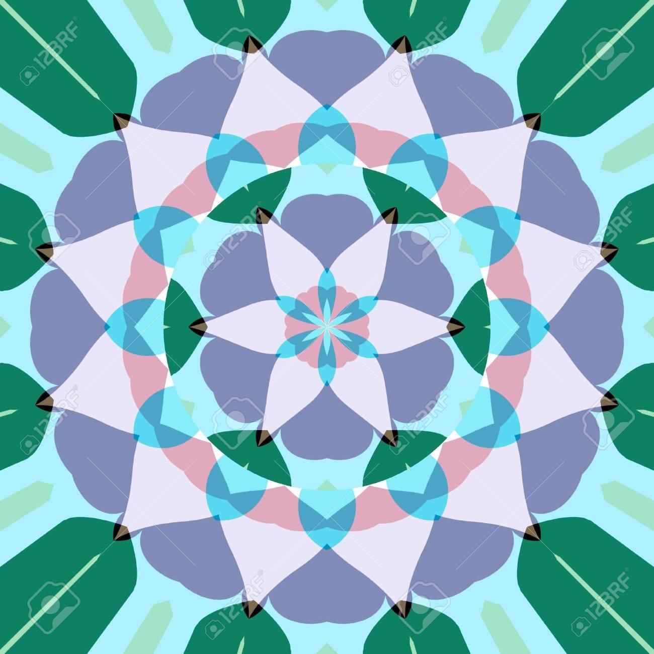 Abstract Mandala Like Pastel Colored Symmetric Lotus Flower Shape