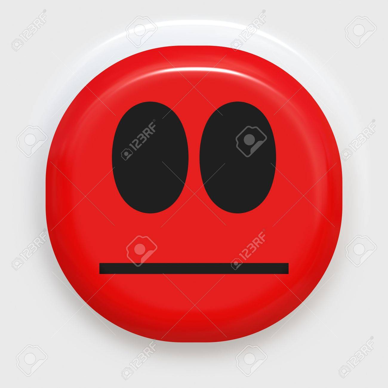 red smiley face looking angry or ashamed Stock Photo - 4749871