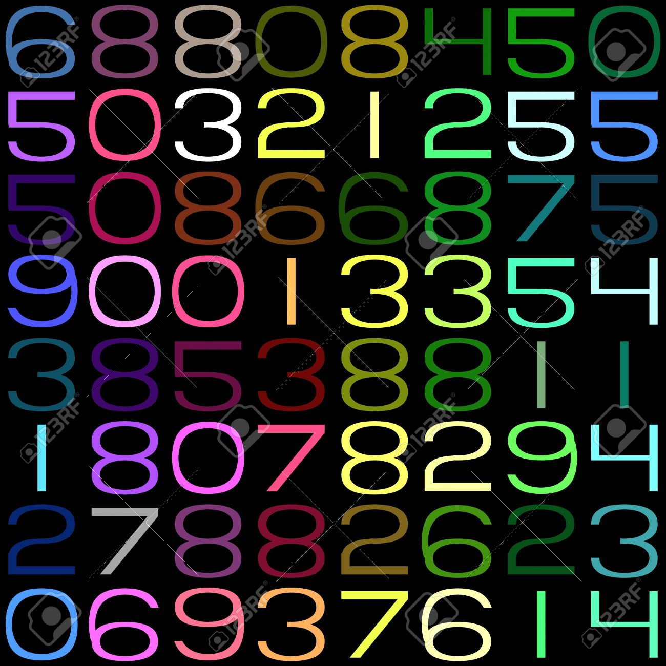 seamless texture of random numbers in bright colors Stock Photo - 5369549
