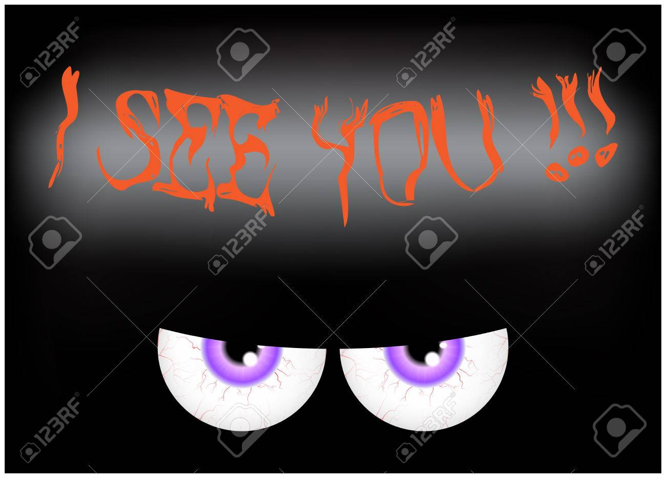 Image Of Happy Halloween Spooky Background Flat Design. Vector Illustration  Of Invitation Card With Scary