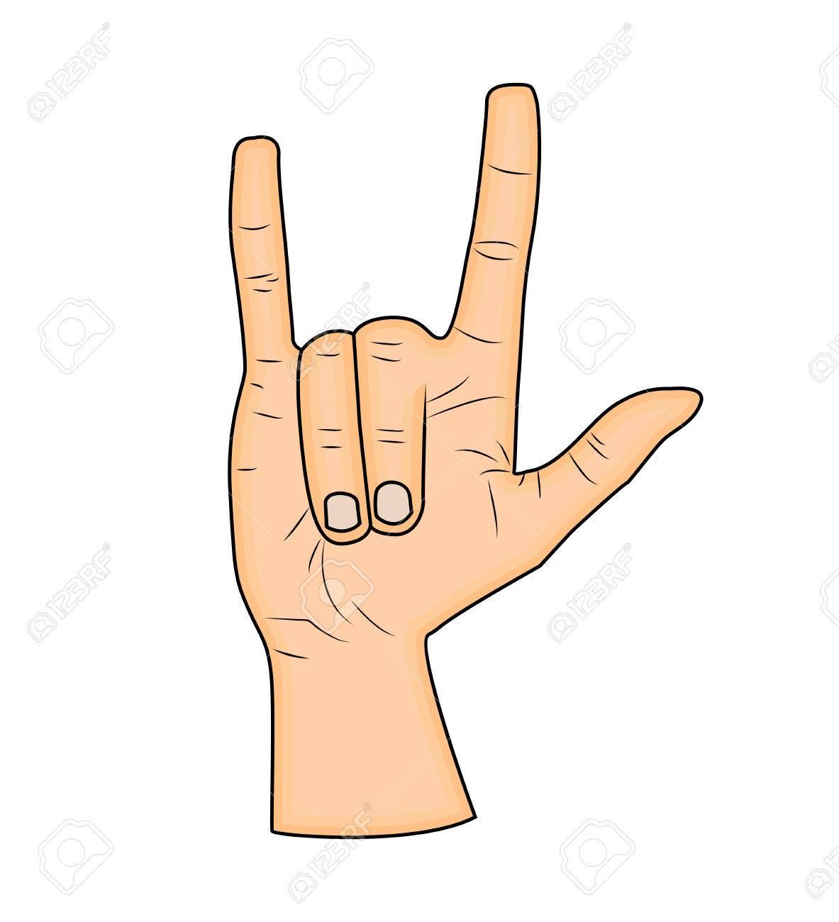 Horns hand satan sign finger up gesture vector isolated on horns hand satan sign finger up gesture vector isolated on white background realistic biocorpaavc Choice Image