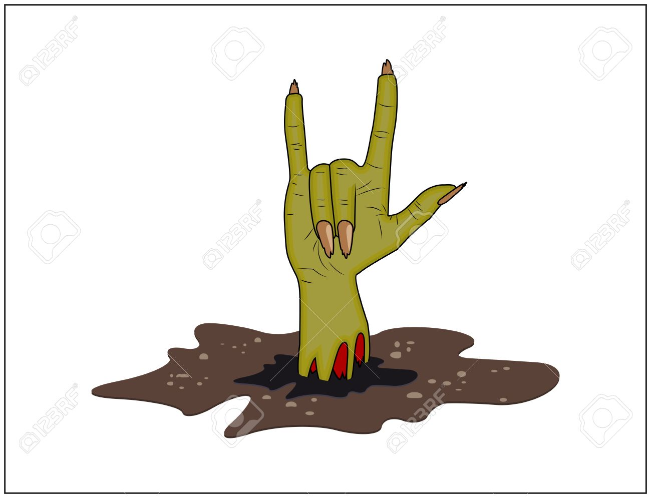 Zombie Hand Horns Satan Sign Out Of Ground Halloween Vector