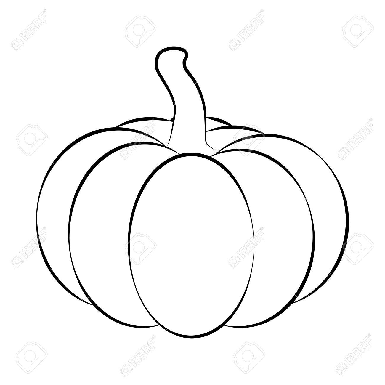 Halloween Pumpkin Outline Contour Vector Illustration Isolated