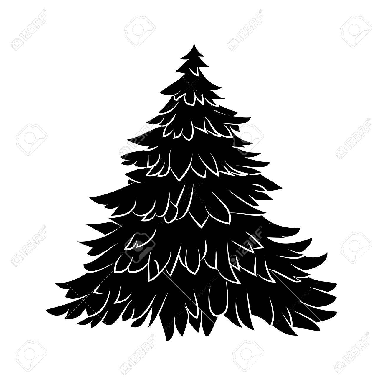 Christmas Holly Silhouette.Christmas Tree Silhouette Cartoon Design For Card Icon Symbol