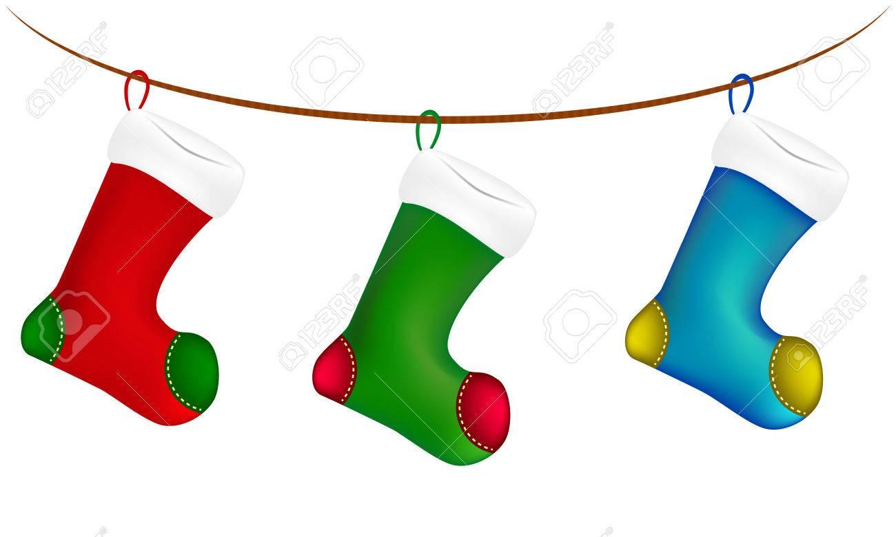 Weihnachtssocke Auf Schnur, Linie, Seil, Symbol, Symbol, Design ...