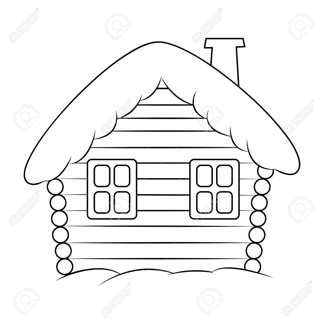 Banque dimages maison avec la silhouette de dessin animé de neige illustration hiver neigeux de noël à la maison chalet isolé sur fond blanc