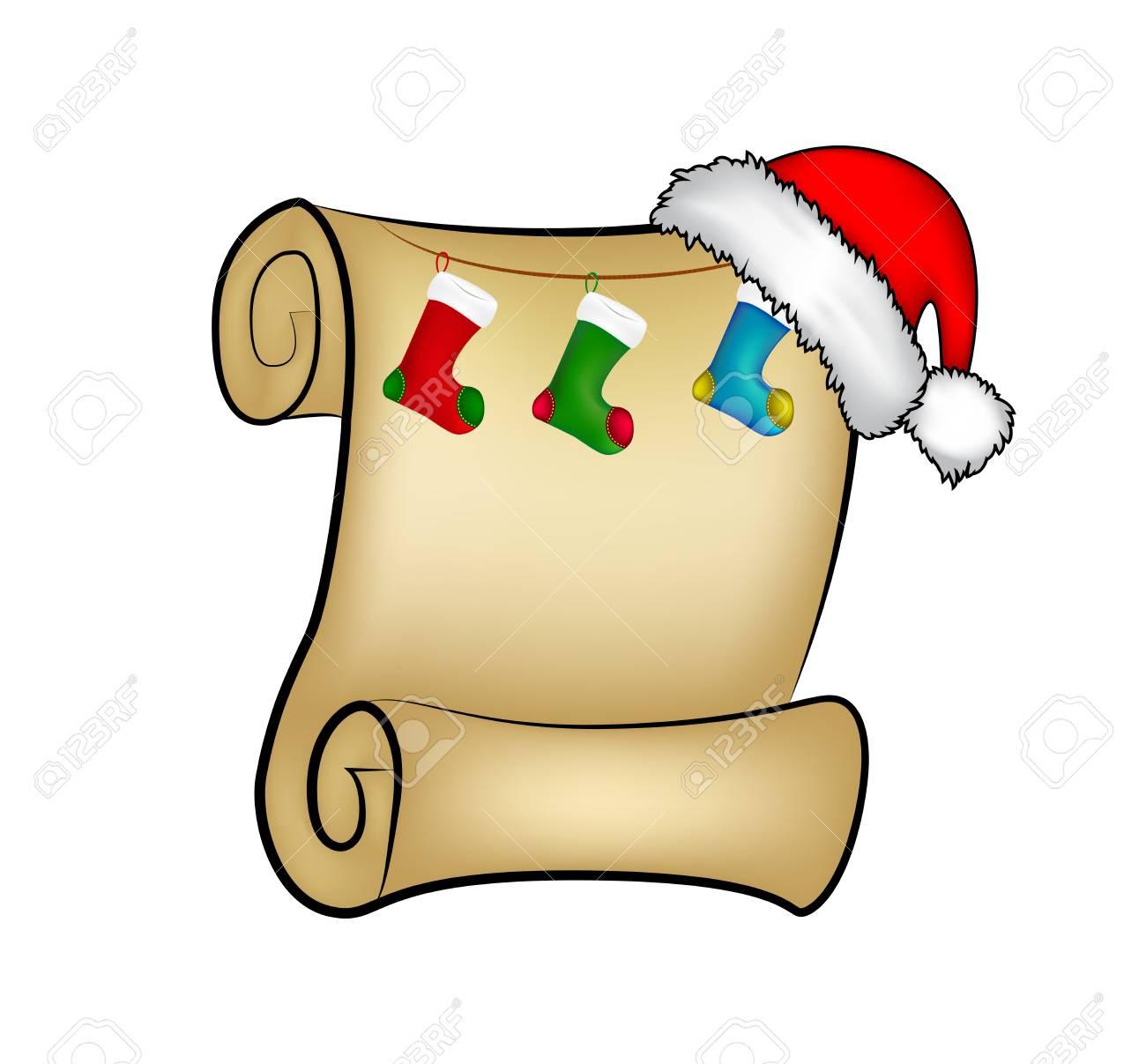 Weihnachten Papierrolle Karte Mit Santa Mütze, Hut Und Weihnachten ...