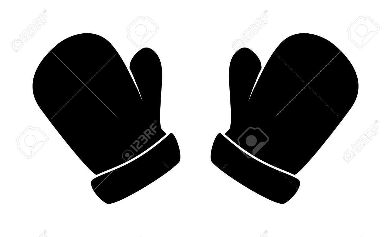 christmas mittens silhouette winter cartoon gloves design icon