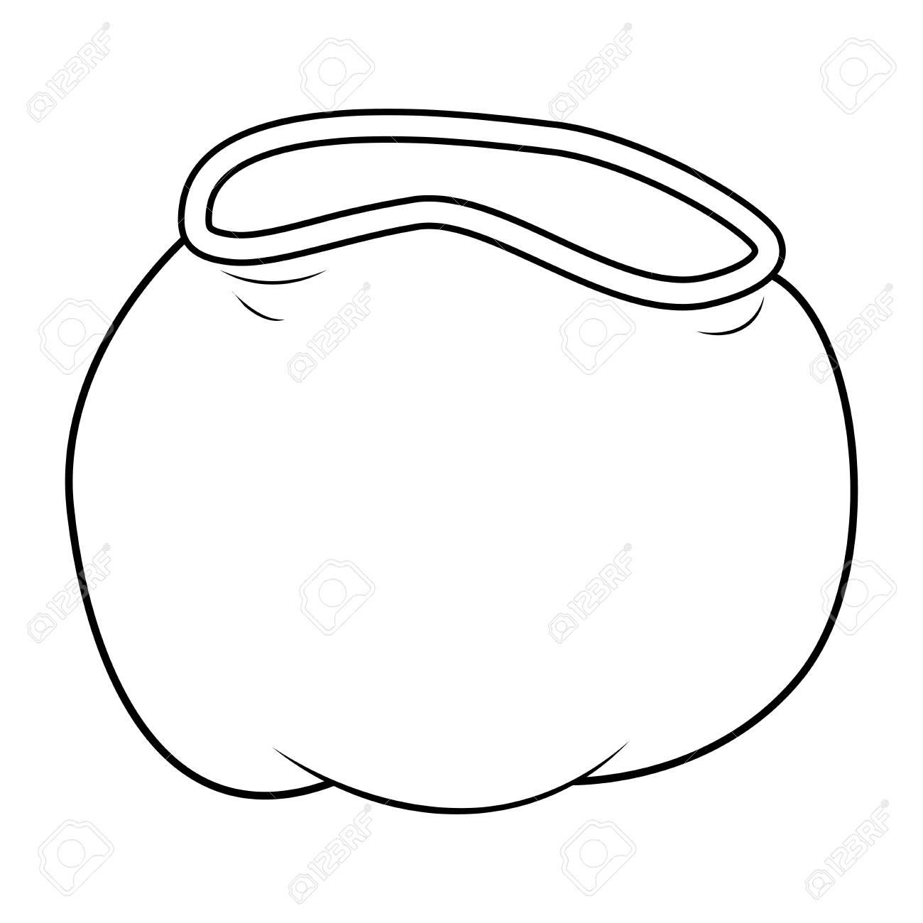 サンタ袋 クリスマスの空の袋のアイコン シンボル デザイン シルエット 冬ベクトル イラスト白背景に分離されました のイラスト素材 ベクタ Image