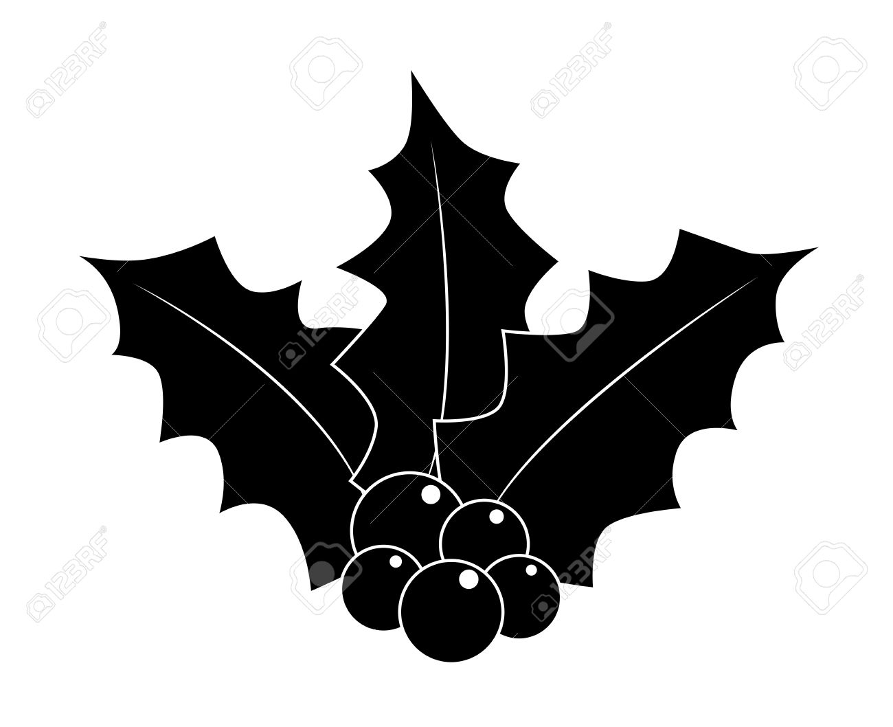 Christmas Holly Silhouette.Holly Berry Silhouette Christmas Leaves And Fruits Icon Symbol