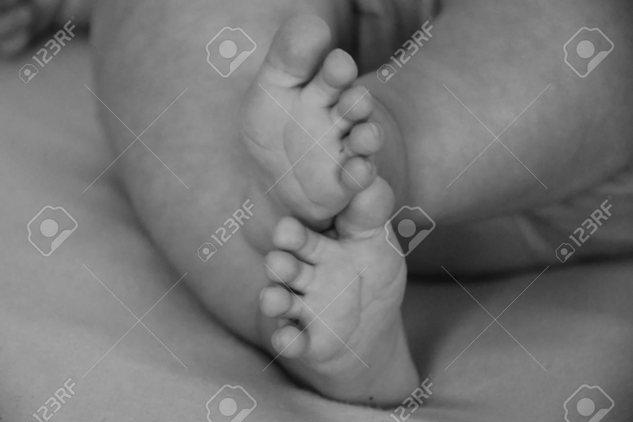 Baby Infant Feet Black And White Photo Beautiful Background