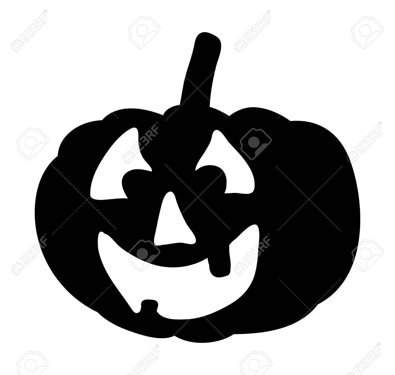 Scary Pumpkin Face Vector Symbol Icon Design Beautiful