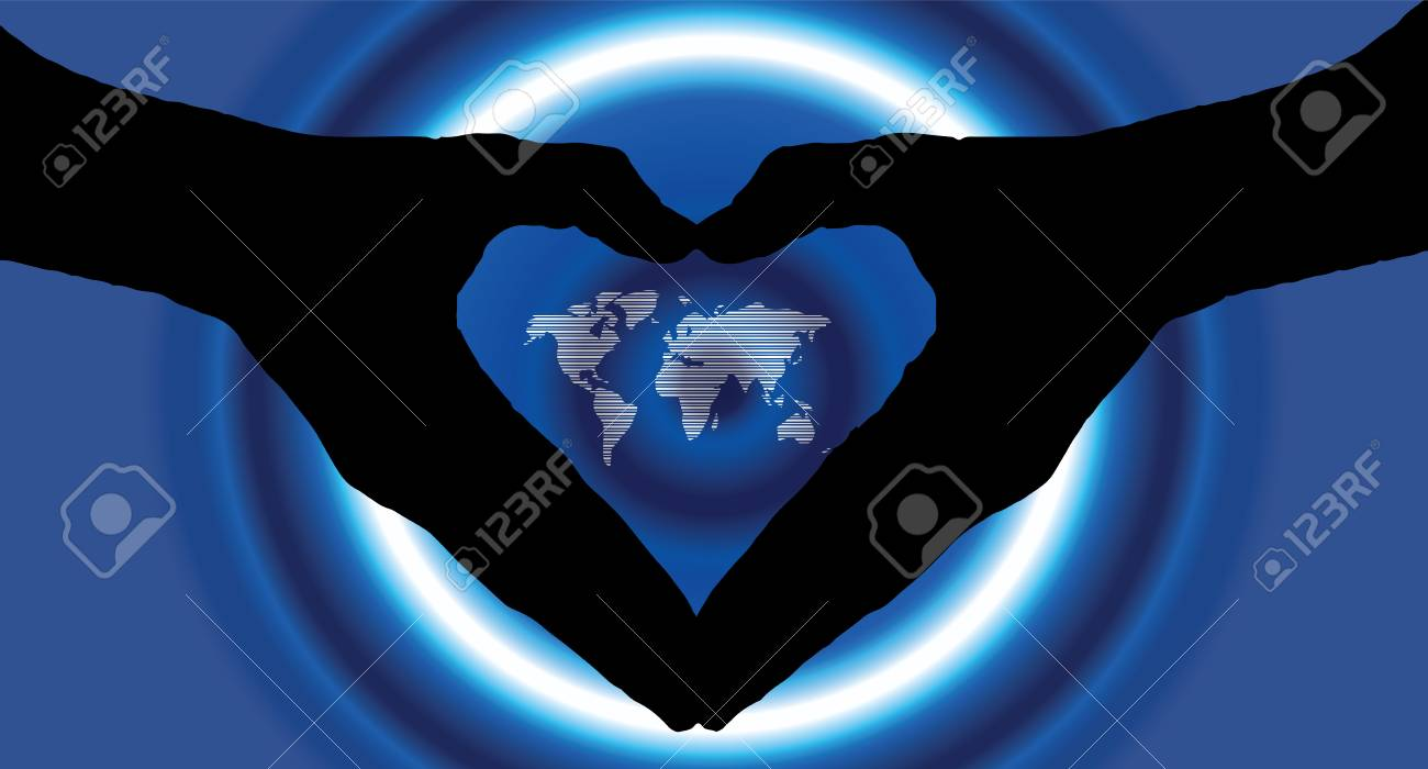 Hand heart silhouette and worldmap background beautiful banner hand heart silhouette and worldmap background beautiful banner wallpaper design illustration stock illustration 67893803 gumiabroncs Choice Image