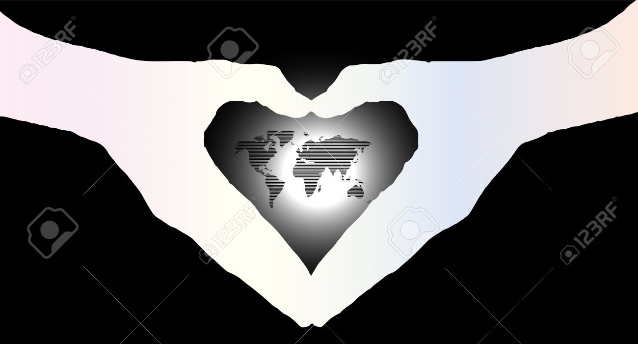 Hand heart silhouette and worldmap background beautiful banner hand heart silhouette and worldmap background beautiful banner wallpaper design illustration stock illustration 67893805 gumiabroncs Image collections