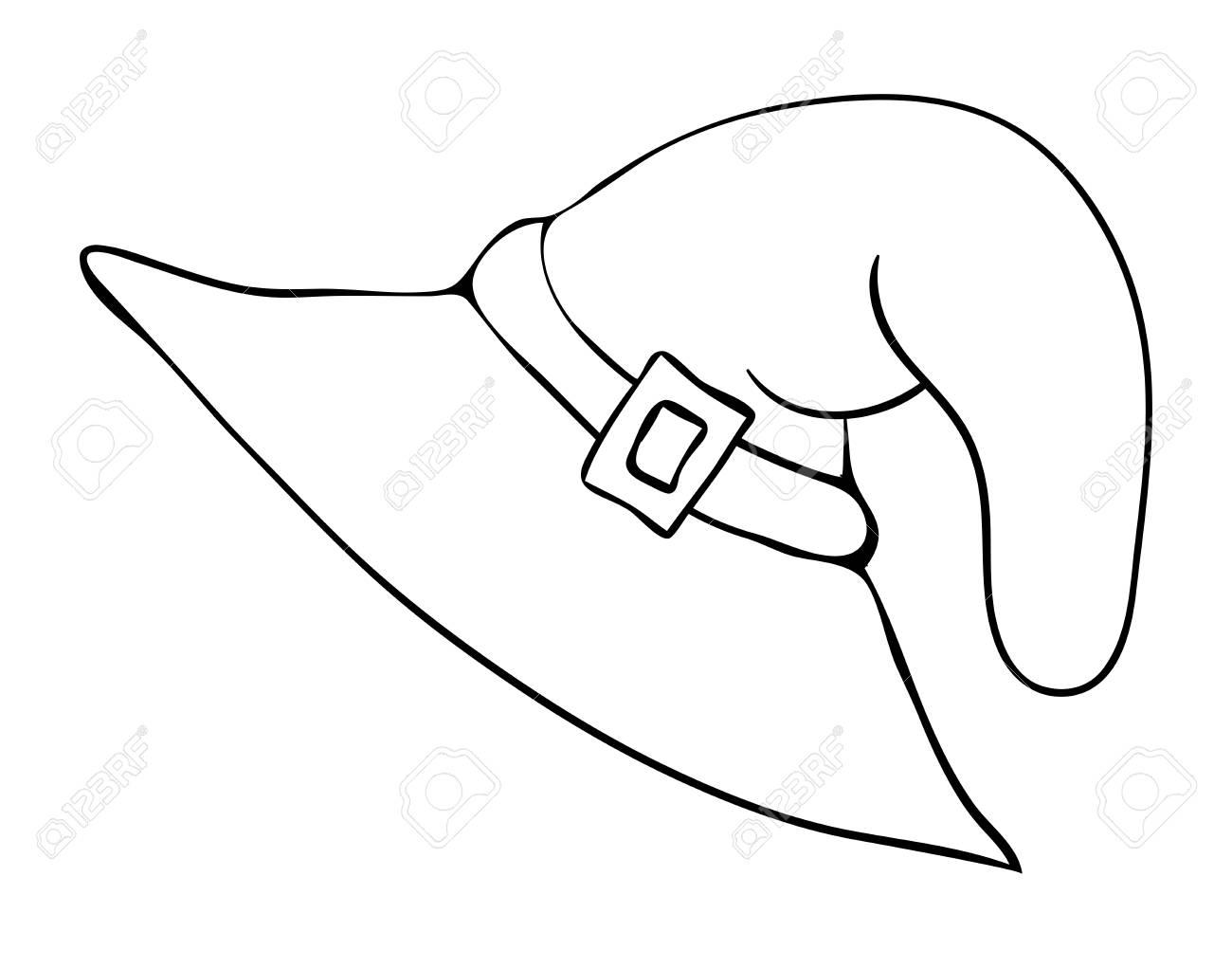 Chapeau De Sorcière Dessin Animé Silhouette Vecteur Symbole Icône