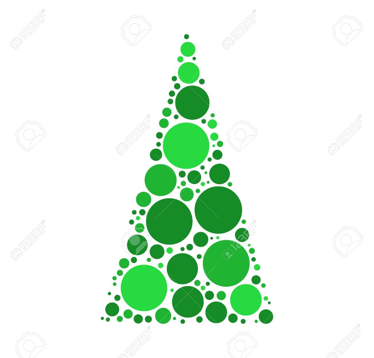 Diseño De Patrón De Puntos De árbol De Navidad Verde. Ilustraciones ...