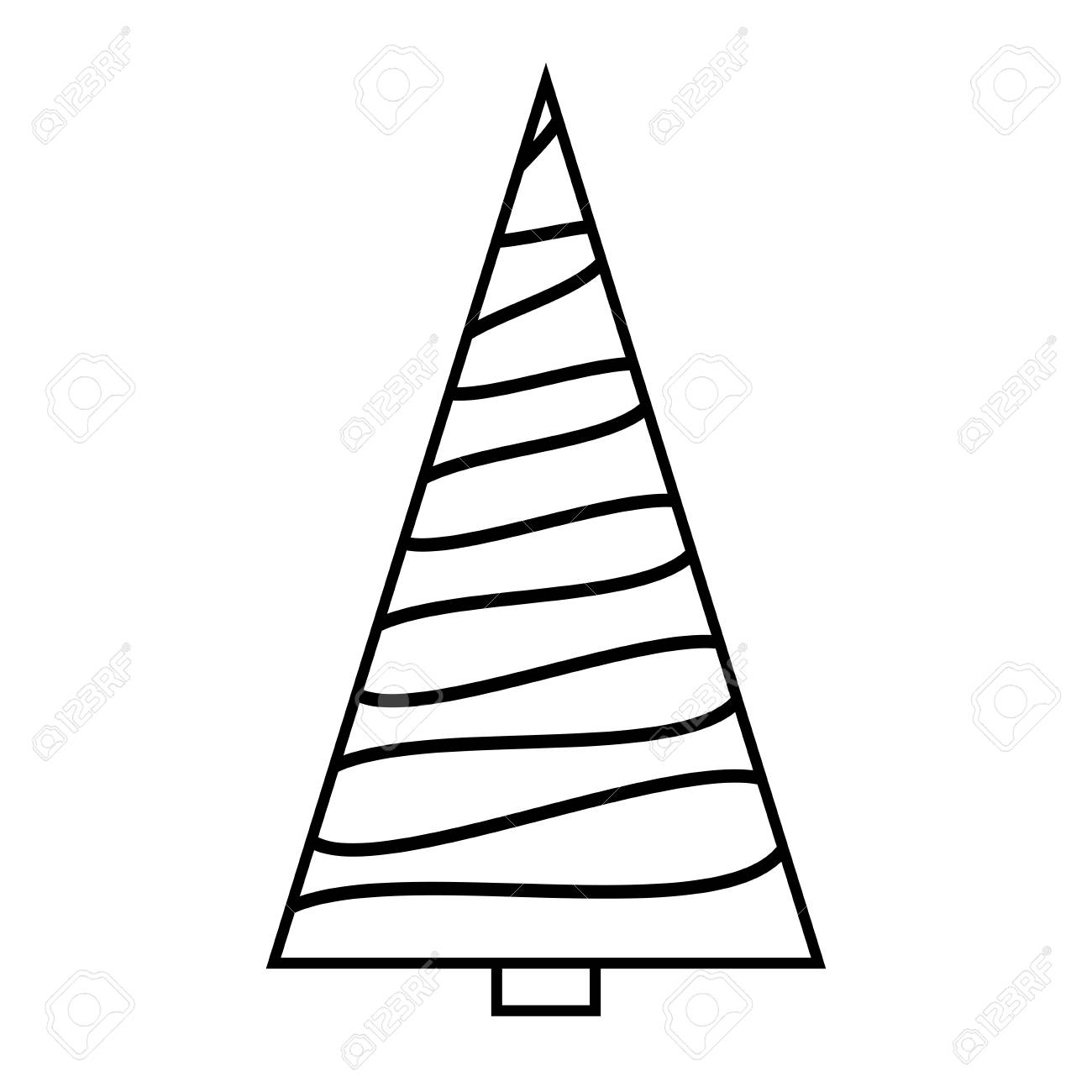 Christmas Tree Simple Outline Design On White Background Royalty Free Cliparts Vectors And Stock Illustration Image 91335265