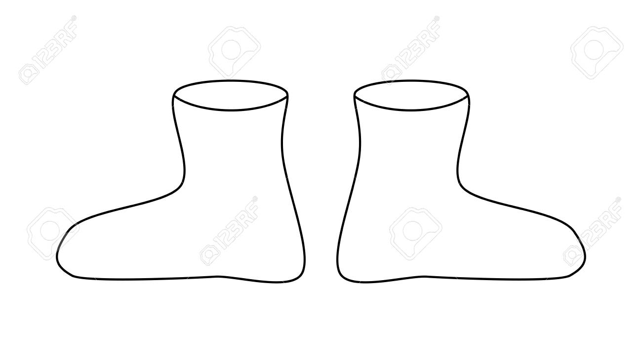 rubber boots outline, cartoon simple gumboots isolated on white..