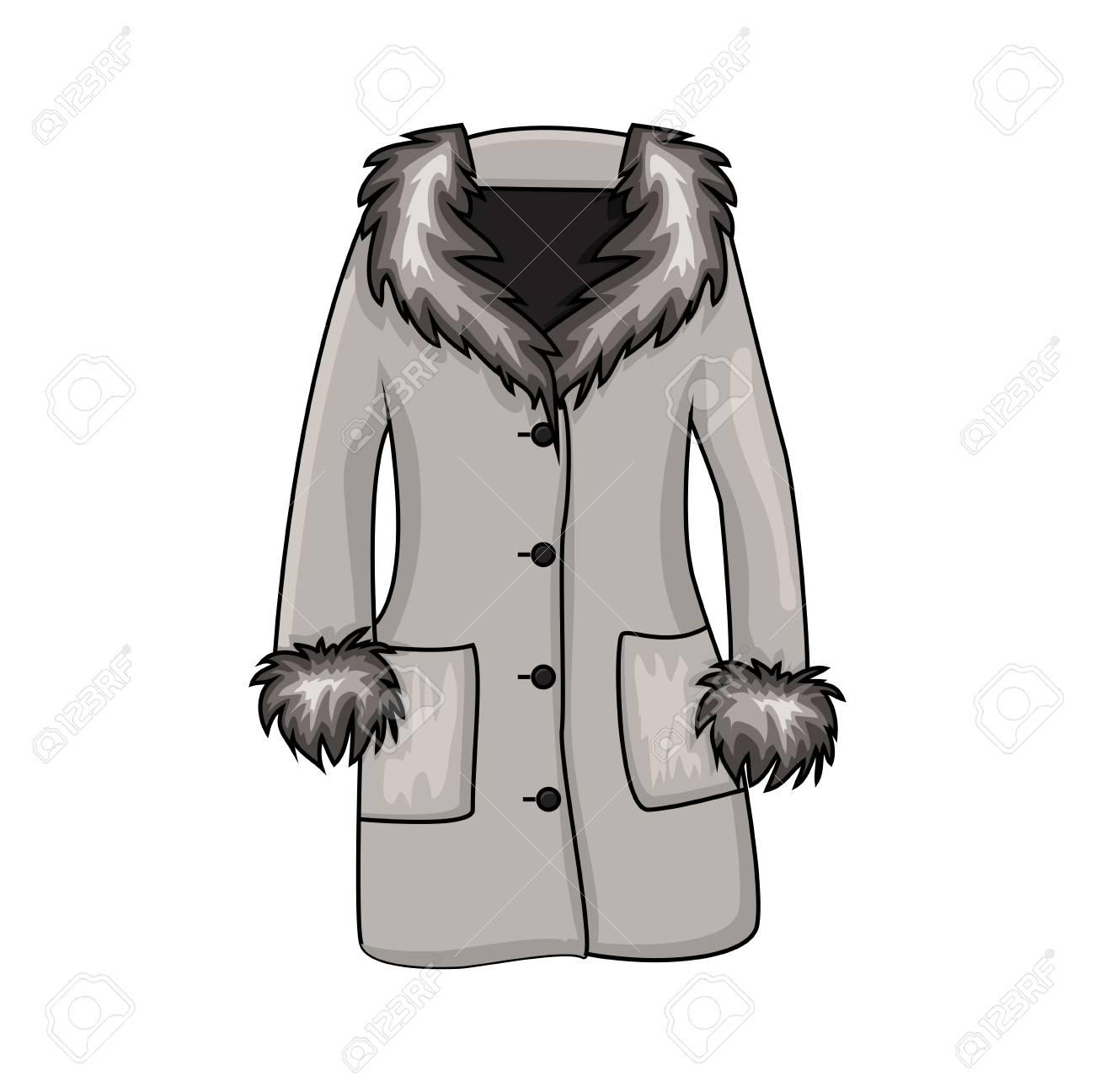 Cartoon fur winter coat isolated on white background - 100874155