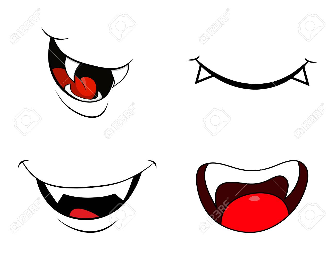 vampire mouth fang smile set isolated on white background - 131424320