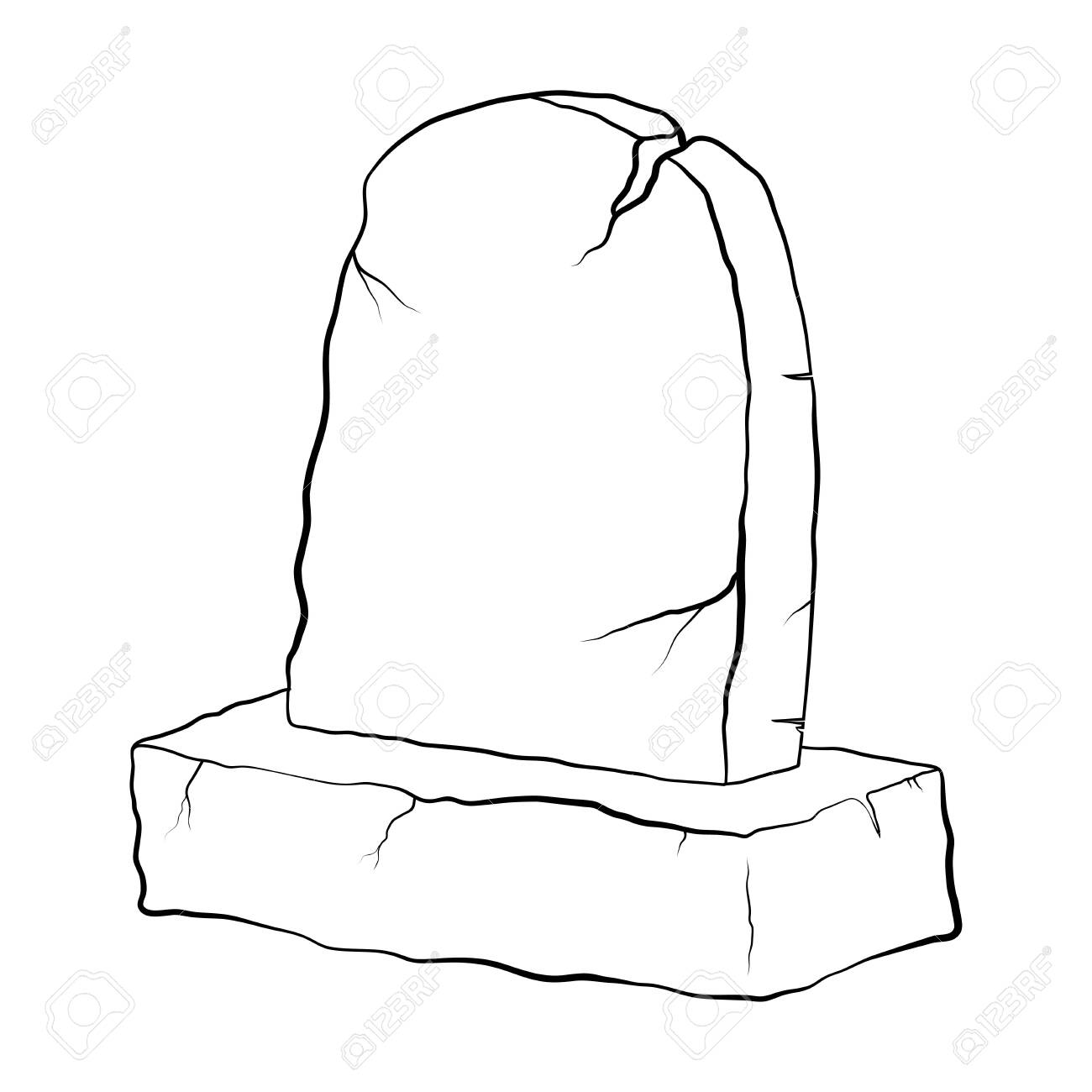 Grave Outline Cartoon Design With Cracks For Halloween Coloring Royalty Free Cliparts Vectors And Stock Illustration Image 136107958