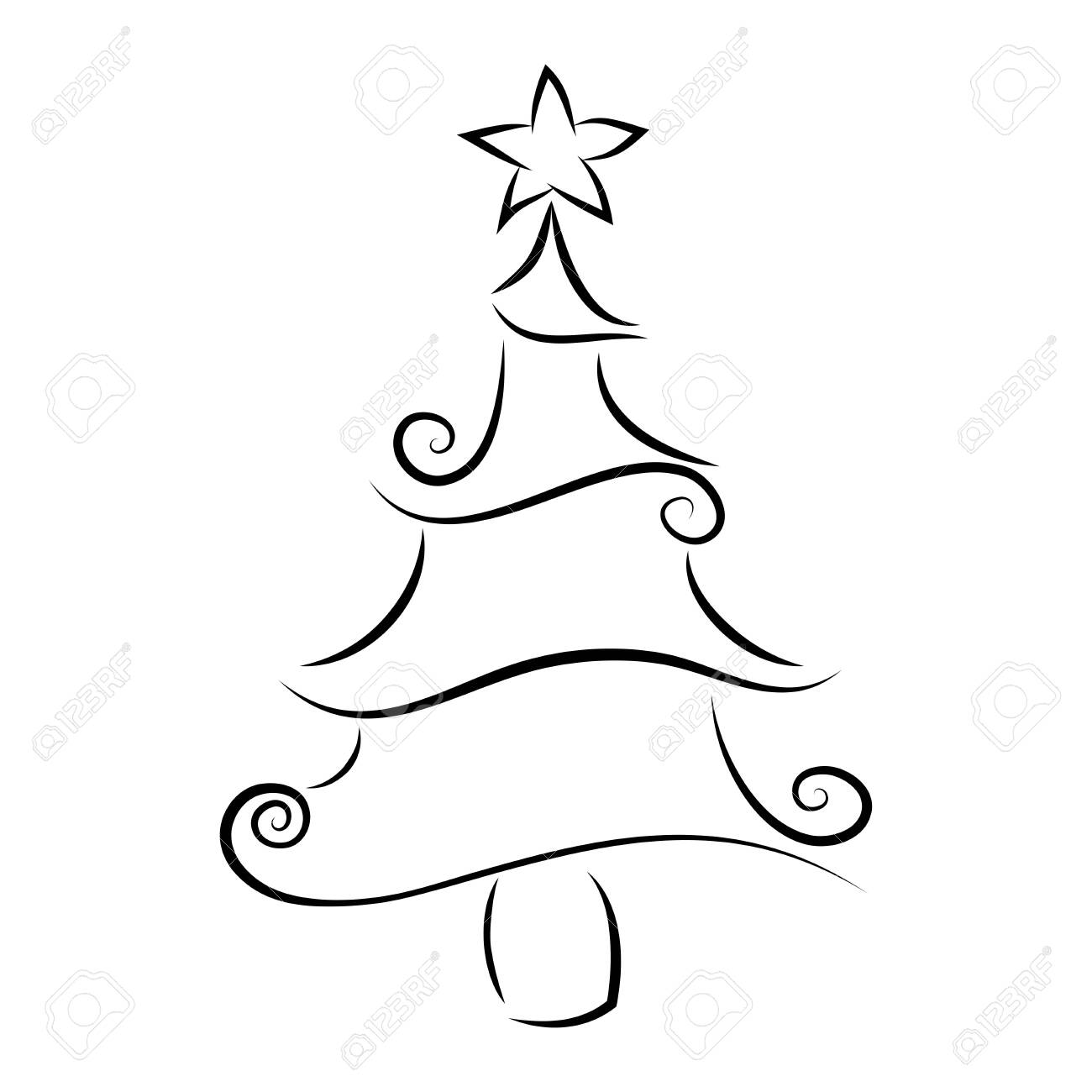 Christmas Tree Outline With A Decorative Element Decorated Curly Line Abstract Isolated Fir Tree Merry Christmas Happy New Year 2020 Greeting Card Background Linear Xmas Pine Tree Royalty Free Cliparts Vectors