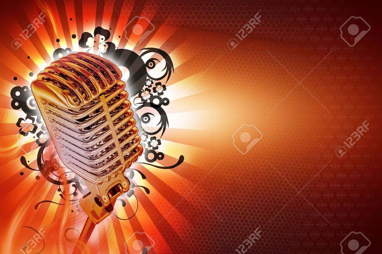 Karaoke Background Design. Cool Retro Style Microphone with Floral Rays and Lights Background. Horizontal Karaoke Theme. Ready to Use Copy Space. Stock Photo - 10642965