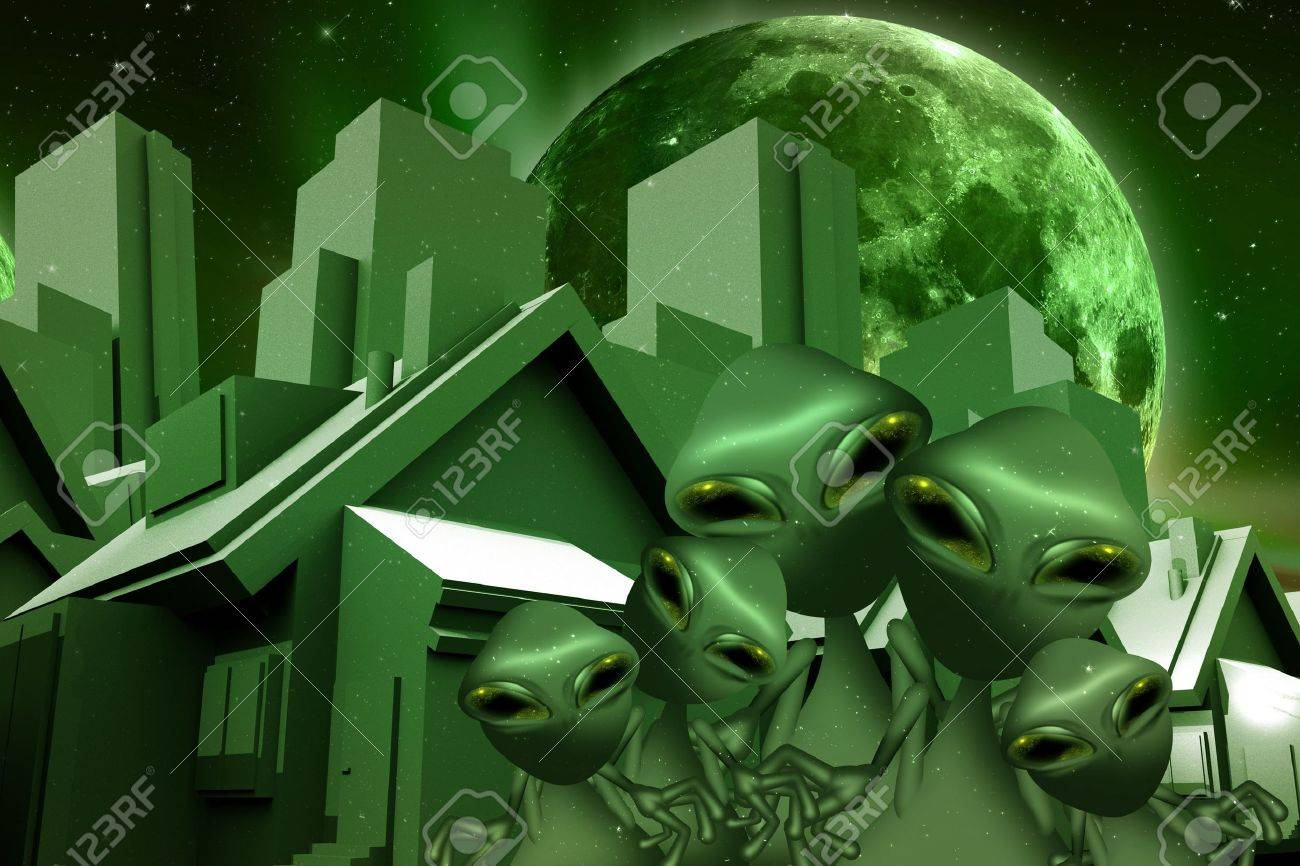 Aliens and Space Real Estate Funny Theme  Green World and Green