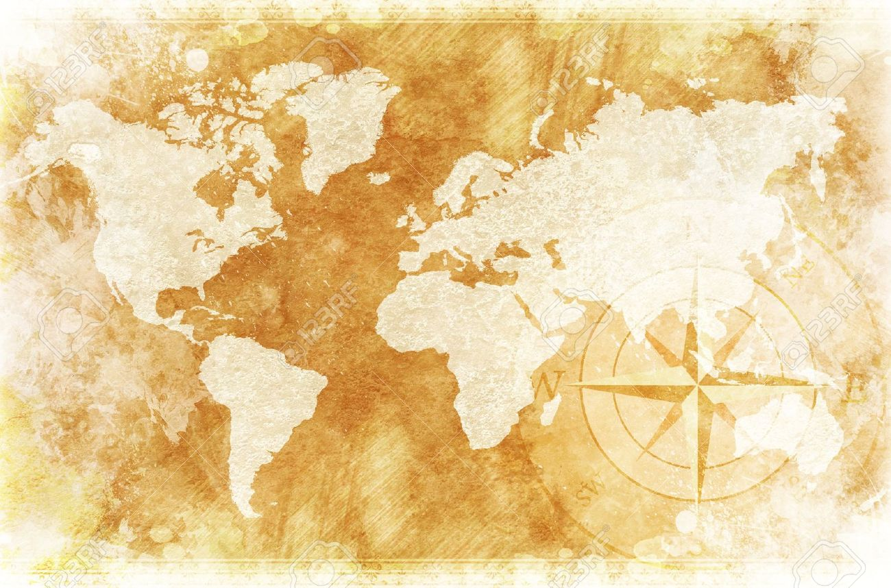 Old Fashioned World Map Design Rustic World Map With Comp Rose Ilration Background
