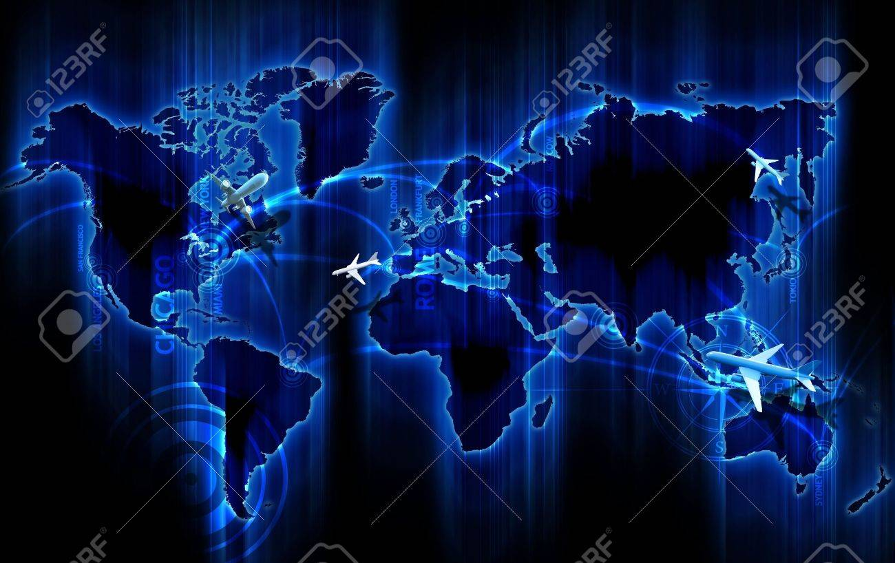 Air Ways World Wide Cool Glowing Blue World Map With Air Ways Stock Photo Picture And Royalty Free Image Image 10645088