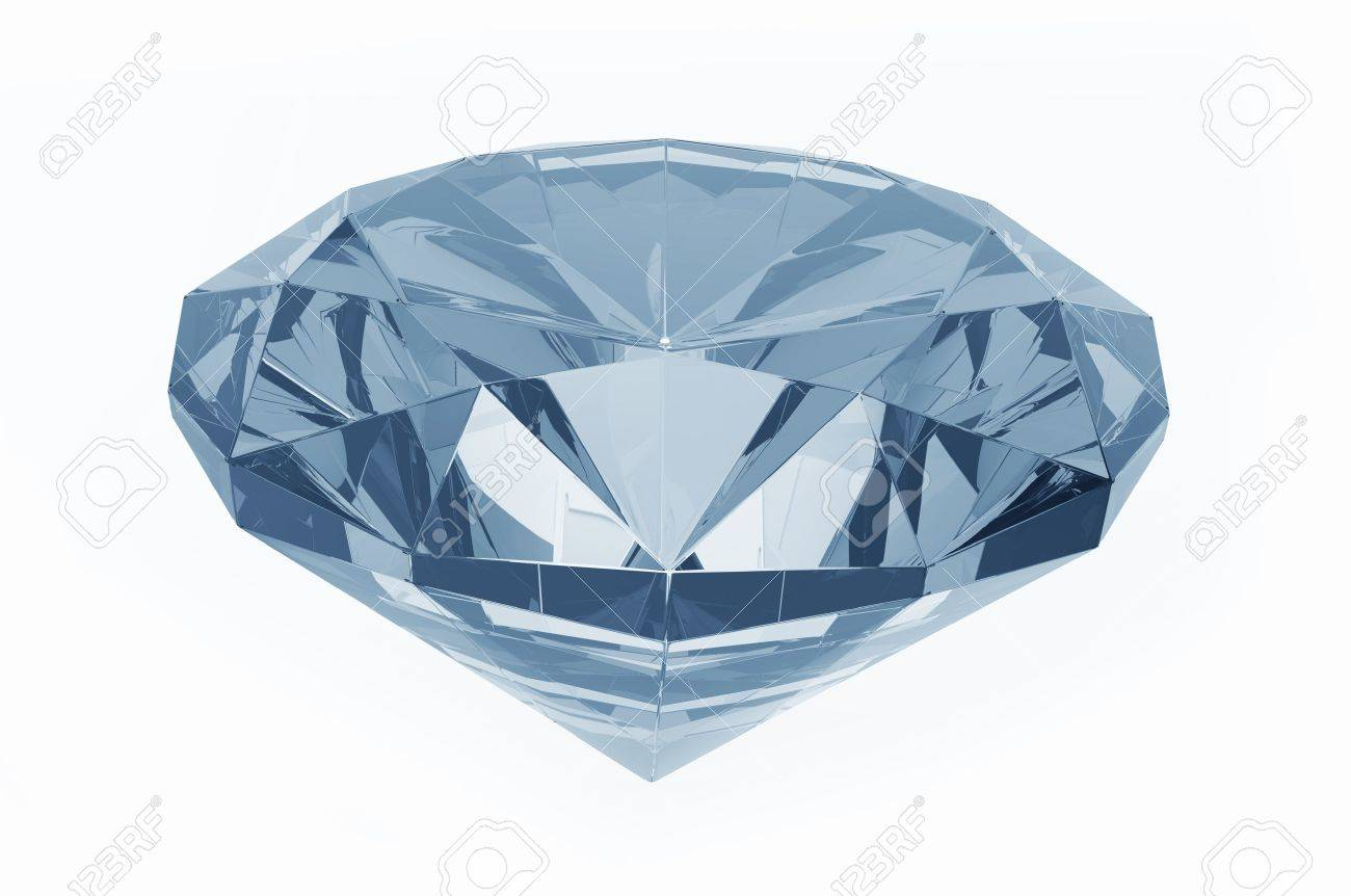 Crystal Clear Diamond (Blue Tones) Isolated on White. 3D Render Diamond Illustration. Stock Photo - 10654581