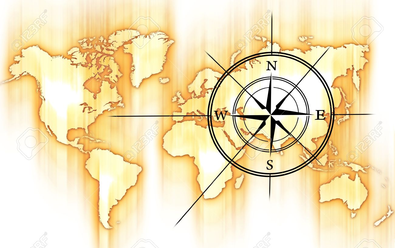 World And Compass Rose. Yellow Orange Motion Blurred World Map