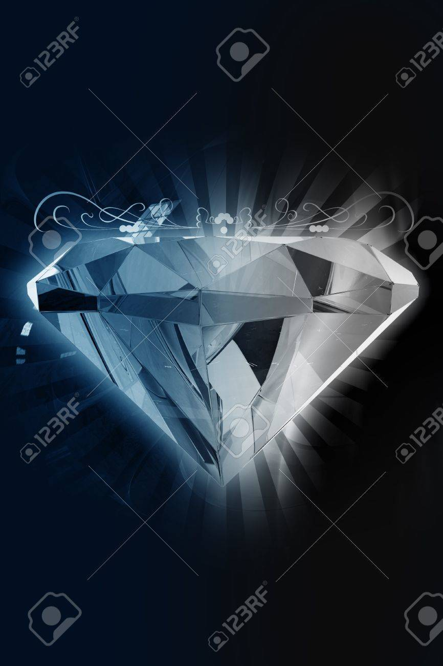 Black Diamond - Elegant Diamond Background. 3D Rendered Diamond with Rays and Ornaments. Black-Dark Background. Vertical Design. Great as Jewelry Store Background etc. Stock Photo - 10724595
