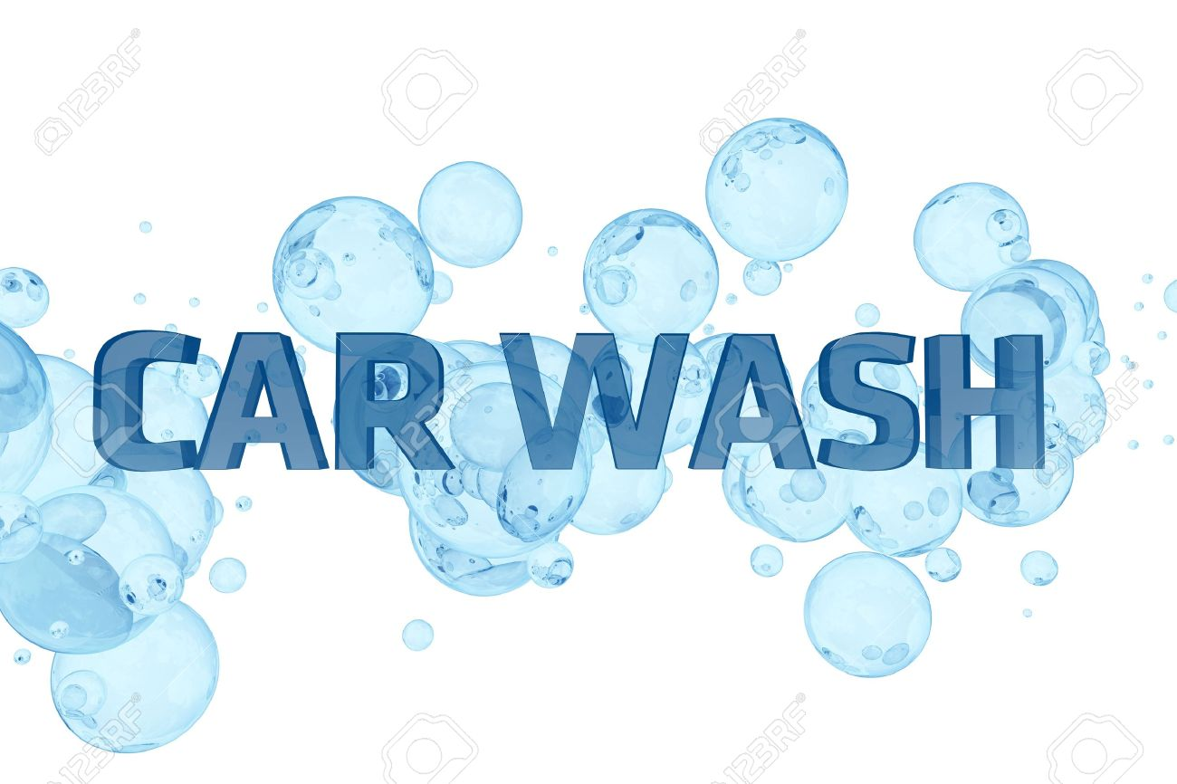 car wash design blue bubbles and glassy car wash letters white solid background