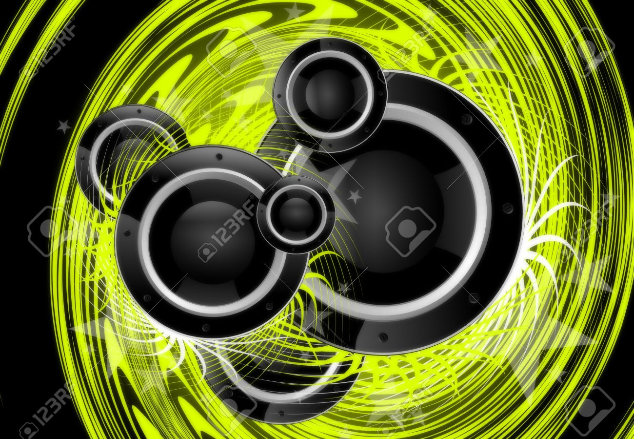Cool Green Music Vortex Background Design with Large Black Speakers. Stock Photo - 10724732