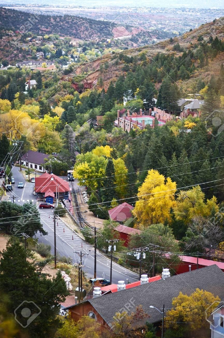 Parte De Manitou Springs, Colorado - Vista De Pájaro. La Ciudad De ...