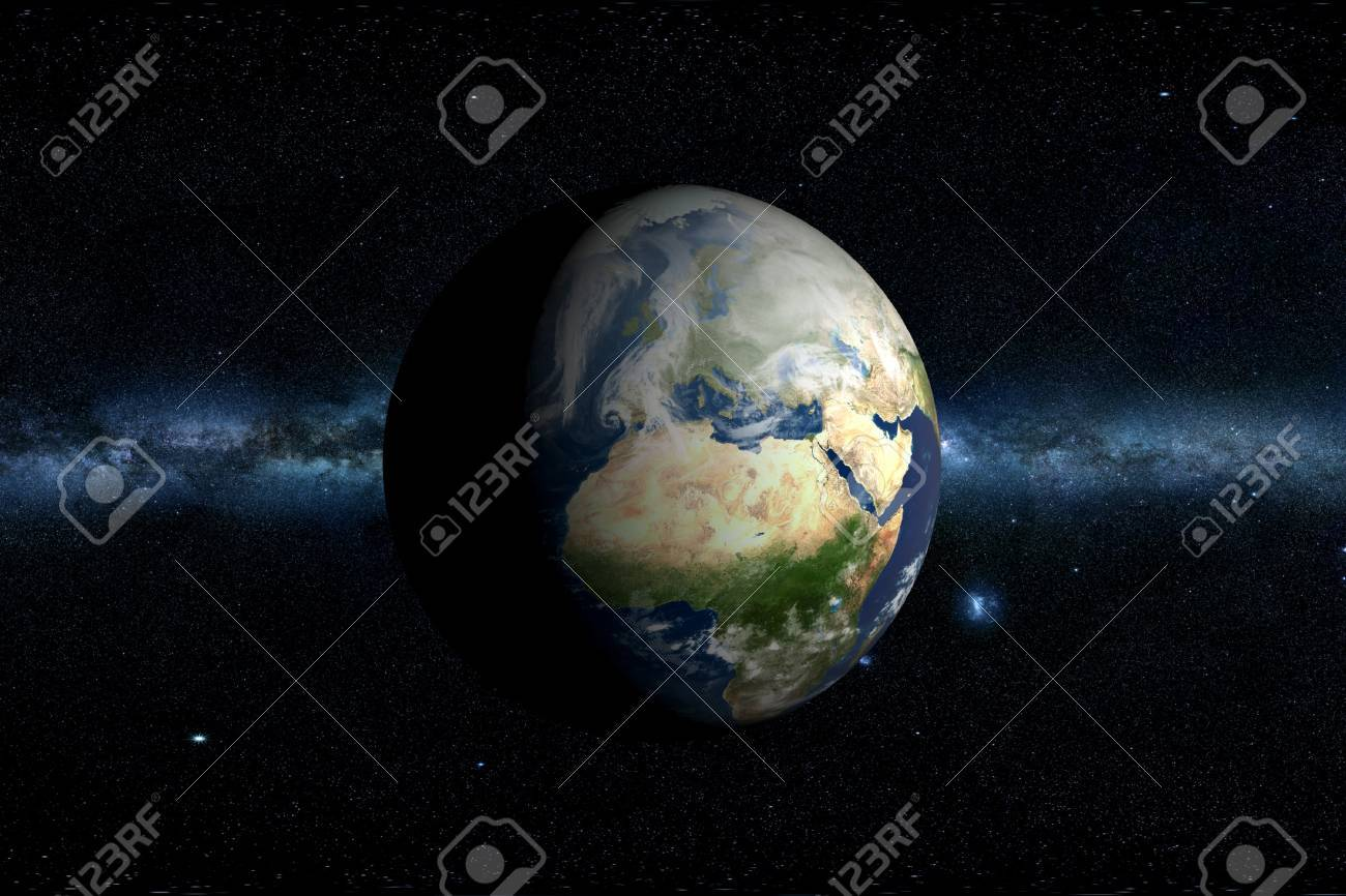 Planet Earth & Milky Way Horizontal 3D Illustration. Africa and Europe. Stock Illustration - 12788982