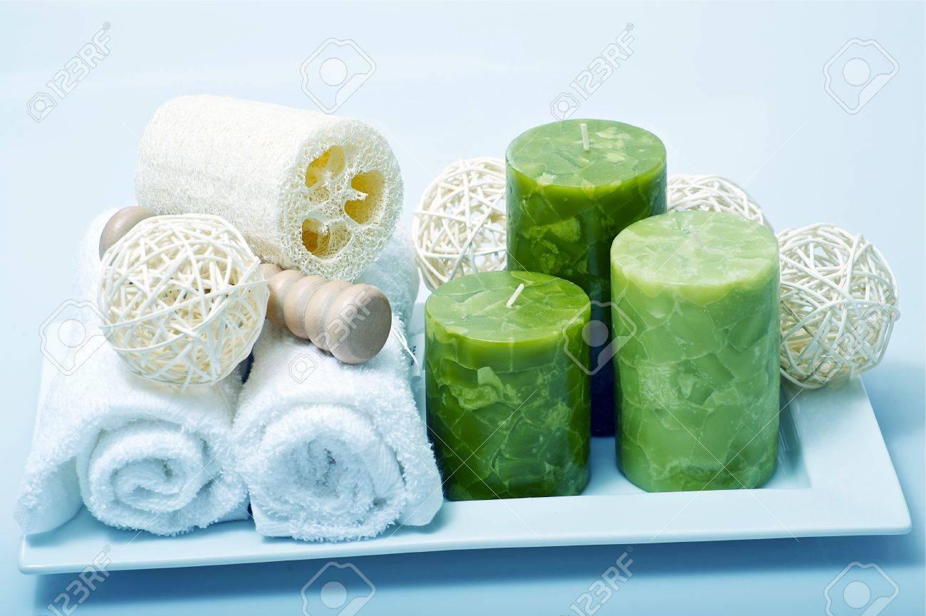 bathroom or spa decoration theme. washing aroma kit stock photo