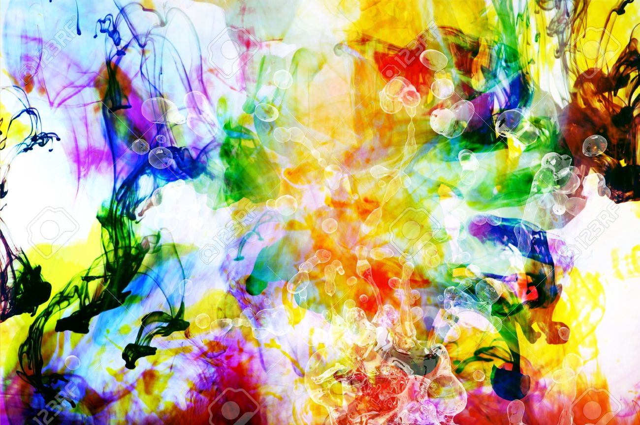 colorful abstract art background made from colorful fluids stock