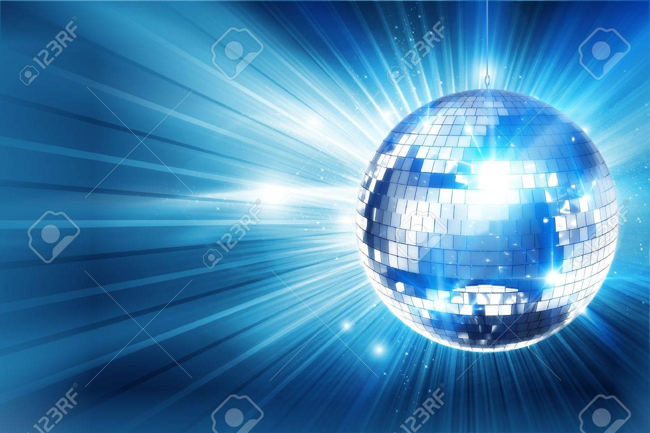Shiny Blue Disco Ball Background. Great Eye Catche Disco Background for Your Event. 3D Rendered Illustration with Copy Space. Stock Photo - 13178851