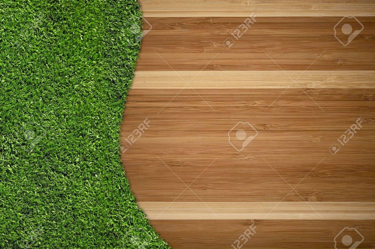 Holzboden Und Grass Kreative Hintergrund Design. Große Kopieren Sie ...