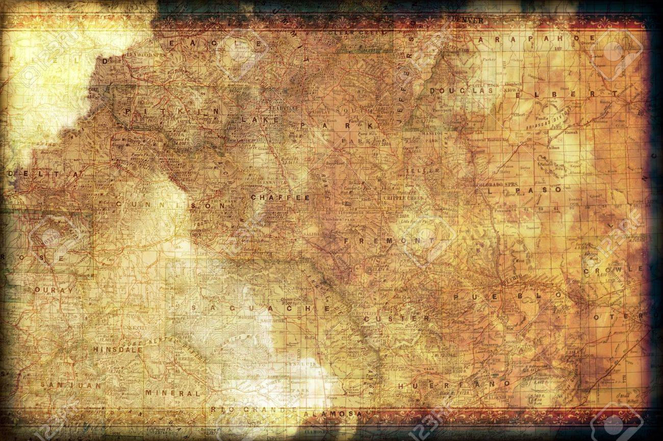 Vintage Colorado Map Background with Floral Frame. Grunge Old Map Background. Stock Photo - 13182214